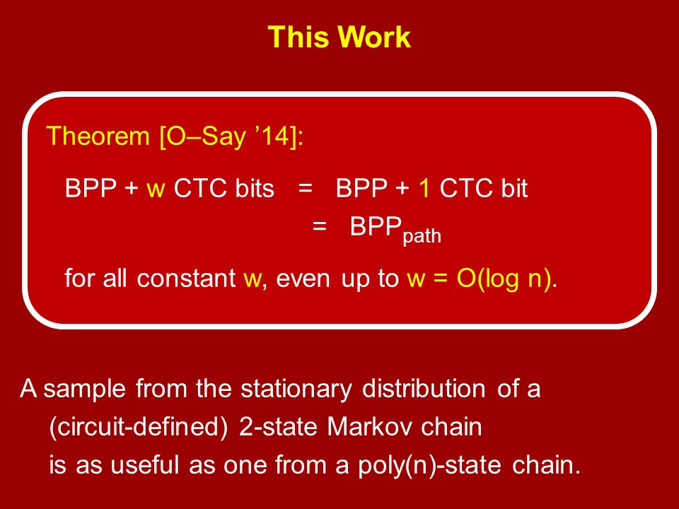 This Work Theorem [O–Say '14]: BPP + w CTC bits = BPP + 1 CTC bit